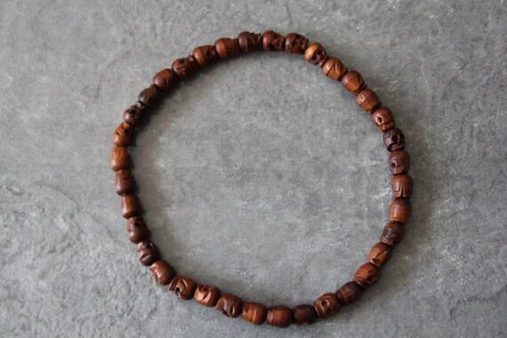 """Date Wood 11x13mm carved skull beads, 36 pcs, 18"""" long full strand"""
