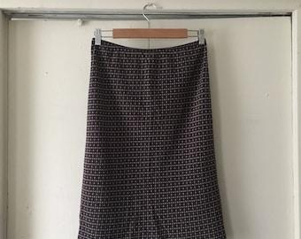 90's Purple patterned silk skirt