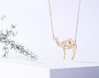 MIZYAN's geometric camel necklace, origami camel necklace, geometric accessories,   animal necklace,   Animal necklace, womens jewelry