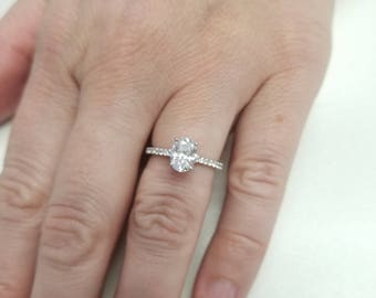 Oval Engagement Ring made with CZ in silver High Quality Cubic Zirconia