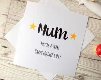 Happy Mothers day card, Mum you're a star, Mothering Sunday small white square card, Nan, Mum, Mom, Mummy, card for her, typography card
