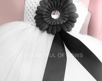 White and Black Flower Girl Dress, Girls White or Ivory Gown, Long White Tulle Dress