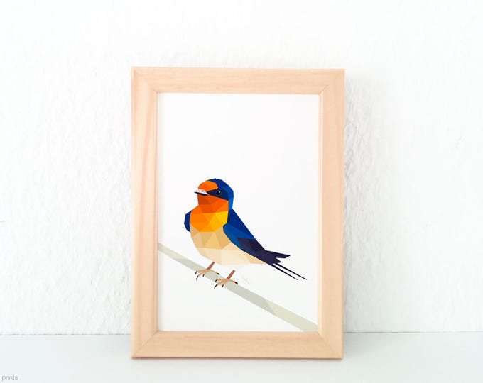 A2 ON SALE, Welcome swallow illustration, Kiwi art, New Zealand Swallow, New Zealand birds, Songbird art, Geometric bird logo, swallow print