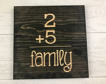 Family Number Sign | 2+1 | 2+2 | 2+3| Family | Big Family | Little Family | Wood Sign | Personalized Family |