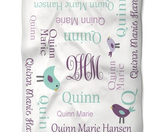 Baby Blanket Personalized Monogrammed with Baby Name in Fun Fonts and Colors  Perfect Baby Shower Newborn Girl Gift