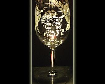 Day Of The Dead Skeleton Wedding Wine Glass Sandblasted