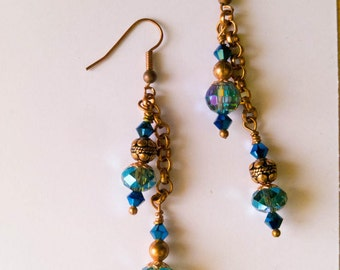 Long blue earrings, golden hooks