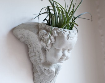 Angel Wall Planter, Cement Cherub, Concrete, Air Plant, Succulent Planter