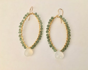 Green apatite and chalcedony gemstone gold hoop earrings