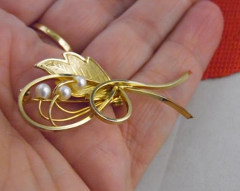 Gold Flower Leaf Pin With 3 Small Pearls,Hallmark- I.P.S. 12K G.F. Pin / Brooch