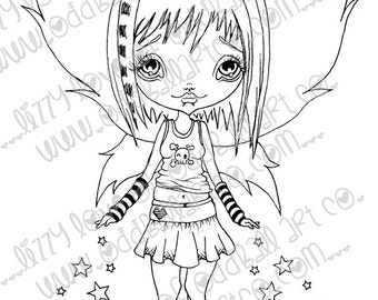 Digi Stamp Digital Instant Download Big Eye Creepy Cute Fairy Girl ~ Starlina Image No. 65 & 65B by Lizzy Love