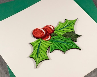 3D Blank Mistletoe Holly Christmas Quilled Xmas Quilling Card