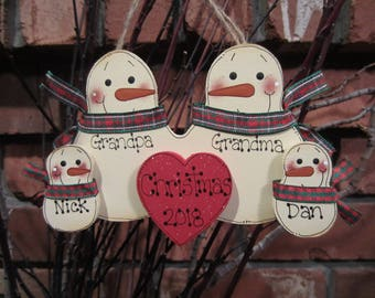 Personalized Snowman Family of 4: Personalized Snowman Family Ornament, Grandparent Ornament, Personalized Grandma Grandpa Christmas, Family