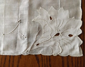 Antique Ivory Handkerchief With Hand Embroidery