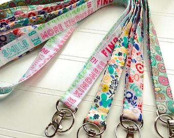 Lanyard, Fabric Lanyard, ID Badge Holder, Key Holder - Choose your design [69-72]