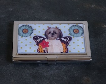 Platinum Metal Business Card Case, Cigarette Case, Credit Card Case, Business Card Holder, Puppy Dog Dog with Butterfly Wings Vintage