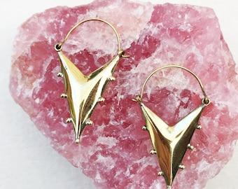 Triangle Brass Earrings, Tribal Earrings, Brass Earrings, Boho Earrings, Festival Earrings