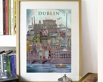 Dublin Cityscape illustration print - Ireland