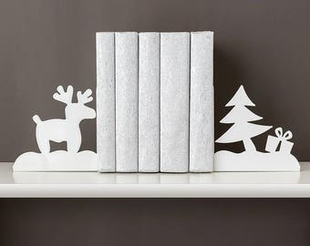 Bookends Christmas decor Deer and Christmas tree book ends Metal bookends Bookend Book shelf decor Kids bookends Nursery book end