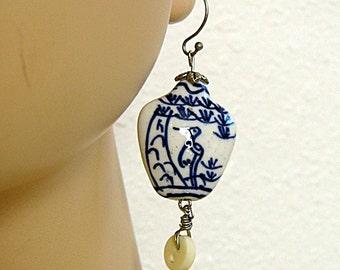 Blue and White Earrings, White Vintage Button, Bird Earrings, Asian Inspired, Handmade, Wire Wrapped, Dangle Earrings