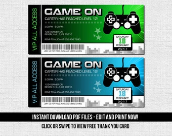 Video Game Ticket Invitations Birthday Party - (Instant Download) Editable and Printable PDF Files - Bonus Thank You Card - Gamer Arcade