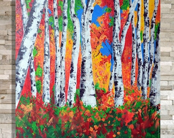 Original White Birch Trees - Vibrant Acrylic Palette Knife Painting 36 x 36