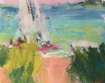 Seascape painting with sailboats, seaside beach scene,  abstract seaside art in blue ocean,  Russ Potak Artist