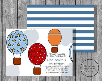 Birthday invitations / Hot Air Balloon Birthday Invite / Boy First Birthday / Boy First Birthday Invitation /Boy Birthday Invitations
