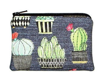 Cactus Coin Change Purse, Little Potted Cacti Small Zipper Pouch