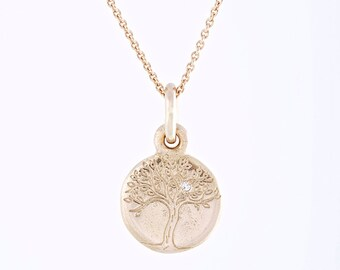 Gold tree of life etsy solid yellow gold tree of life pendant with genuine diamond 14 karat gold delicate engraved aloadofball Image collections