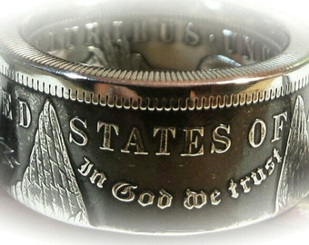 "Morgan Silver Dollar Coin Ring. The ""GAMBLERS RING"" Heads Or Tails showing. Sizes 7 through 15."