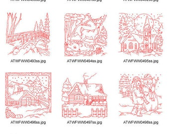 Winter-Scenes-Redwork-5x7 ( 10 Machine Embroidery Designs from ATW ) XYZ17C