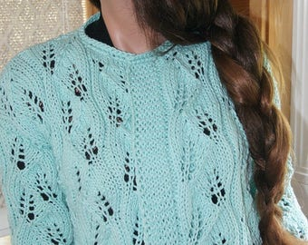 Mint Green Loose knit sweater Leaves Pattern Sweater, medium Length sleeves, cotton knitting sweater  , Cardigans, For Her, Dress up