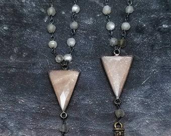 Moonstone necklace, peach moonstone pendant, hand charm, charm necklace, gemstone pendant, bohemian necklace by Lolafae