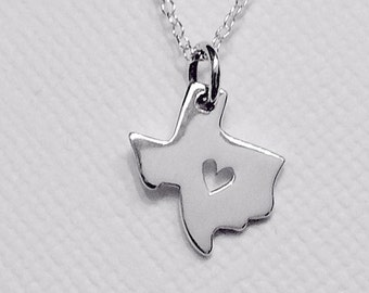 Tiny Texas State Charm Necklace with Heart Cutout Sterling Silver Custom Personalized Jewelry BFF Best Friends Roommate Bridesmaid Lone Star