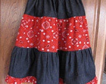 Adult Denim Bandana Tiered Skirt Made to Order
