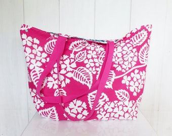 XXL bag / Tote in Hawaii flowers fuchsia fabric and printed geometric green and fuchsia