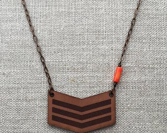 Chevron with orange coral