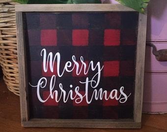 Merry Christmas buffalo check sign