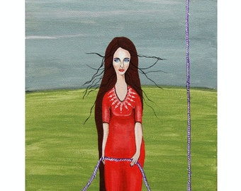 """Small Acrylic painting- Woman With Rope- Original Acrylic Painting """"Stronger...""""- Red Dress Art"""