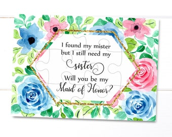 Geometric wedding invitation MOH proposal Maid of Honor gift I found my mister but I still need my sister Maid of Honor proposal Bridesmaid