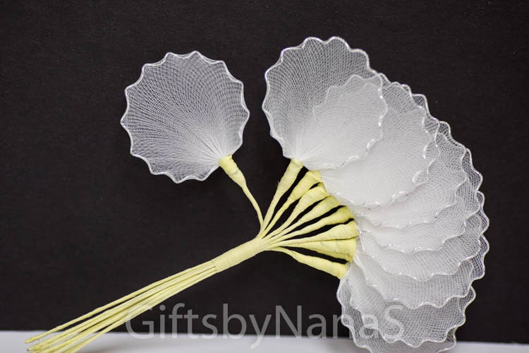 Silver edge 10pc almond holders tulle net leaves silver wire