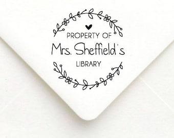 Custom Teacher Stamp, Teacher Rubber Stamp, Teacher Gift Stamp, Personalized Name Teacher Stamp, Property of Library B35