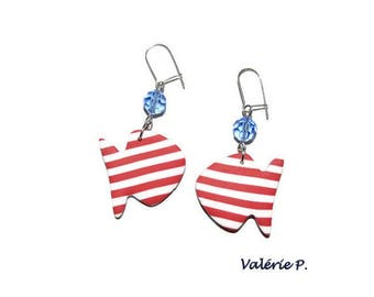 Fish spirit sailor striped red and white jewelry polymer clay earrings