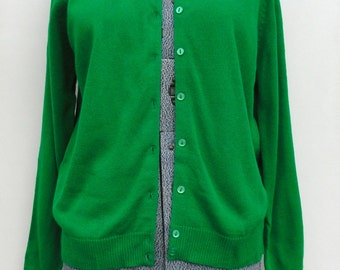 Vintage RISA Sweater, Kelly Green Cardigan Sz 40,  All Acrylic Button Up Top, 1960s Preppy Sweater Large