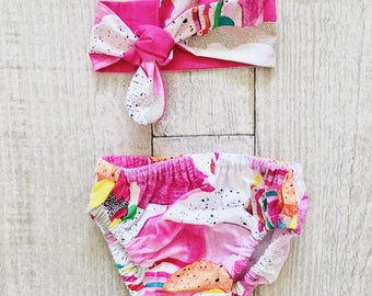 0-3 Months Baby Bloomers/Headband Set - Hot Pink 'Up in the Clouds'