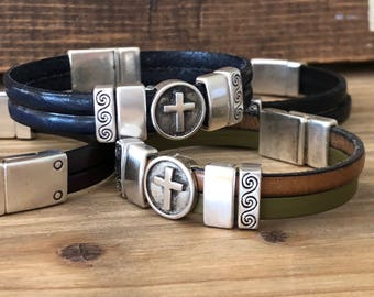 Leather Cross Bracelet -  Religious Bracelet - Easter Bracelet - Christian Jewelry - Bracelet Women - Catholic Jewelry - Religious Gifts