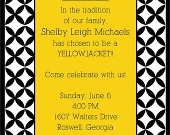 Yellow and Black Georgia Tech Invitations and White or Optional Lined Envelopes, Set of 10