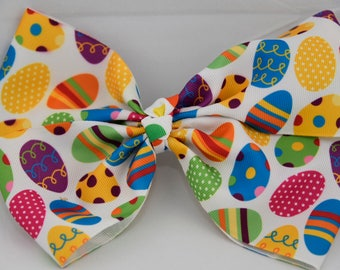 Easter Print Hair Bow 7in / 18cm