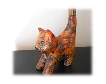 Gatto decorativo su supporto da terra africana decopatch cartone decorazione fatta a mano